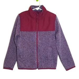 Place Burgundy Mottled Knit Jacket XS 5/6